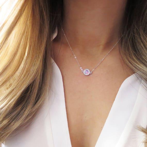Silver Pave Opal Necklace
