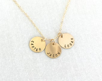 Personalized Name Disc Necklace, Sisters Gift, Gold Disc, Best friend Gift, Coin Necklace, Bridesmaid Gift, Mother Necklace, Children Name