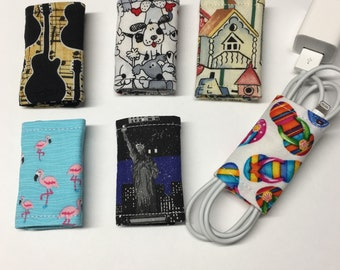 Set of 6 Cord Wraps for Cell Phone charge cord, teacher gifts, co-worker gifts, cell phone accessory, backpack accessory, college supplies
