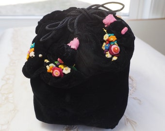 Vintage Black Velvet Purse with Multicolores Felt Flowers Embellishment - Draw String Pouch