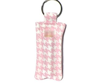 Pink & White Houndstooth Lip Balm Keyring - Pocket Soap Holder - Travel Soap Pouch - Carrier for Lip Butter - Patterned Fabric - Hand Sewn