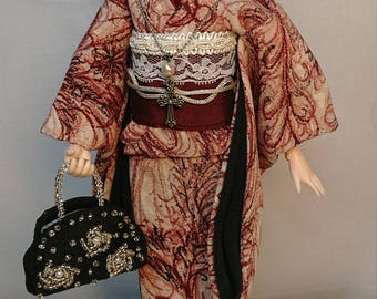 OOAK DOLL  OUTFIT Antique Silk Kimono Furusode For 1/6 Custom Doll Obitsudoll27(bust size S,M)
