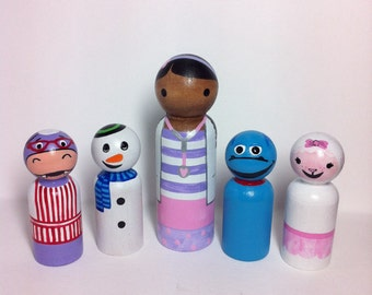 Doc McStuffins set of 5 PegBuddies Doc, Chilly, Stuffy, Lambie, Hallie doc mcstuffins peg dolls peg people