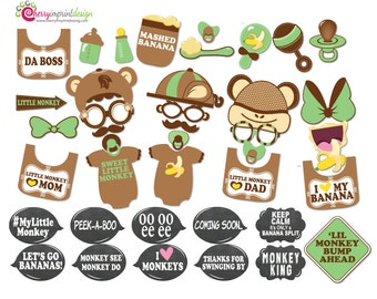 41 Funny Monkey Baby Shower Photo Booth Props INSTANT DOWNLOAD (PDF File) Diy