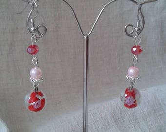 Red bead and Flower Earrings
