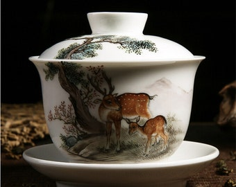 China Cup and Saucer For Tea, Ceramic Gaiwan Famille Rose Technique Hand Painted Sika Deer