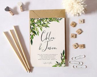 Greenery Wedding Invitation Set, Printable Simple Wedding Invitation, Garden Wedding Invite, DIY Wedding Suite Green Leaves Botanical Invite