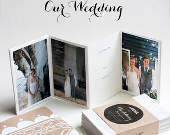 OUR WEDDING Mini Albums/ Set of 4 hand bound silk screen printed, wedding thank you, mini photo album, wedding gift.