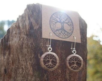 Wooden Tree Earrings- Sustainable Wood Jewelry- Oregon Myrtlewood Tree Earrings- Natural Wood Jewelry- Eco Earrings