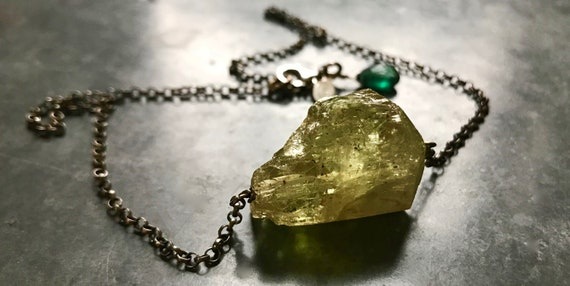 ASTRA   Natural Yellow Apatite on Sterling Silver Chain Choker