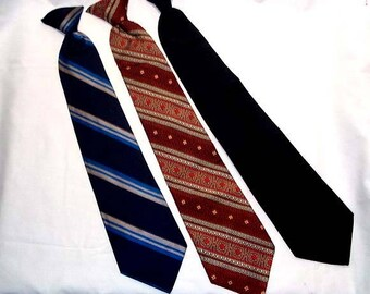 Three Mens Vintage Clip On Ties Neckties - Wembley and Puritan - Very Retro