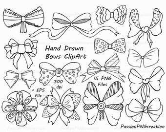 Hand Drawn Bows Clipart, Ribbons, PNG, EPS, AI, vector, Tied Bow, Digital clip art, Digital Stamp, Personal and Commercial Use