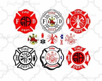 Firefighters Fire Designs Cuttable Bundle SVG EPS DXf cut file set, Printable Png, Cricut Design Space Silhouette Studio Digital Cut Files