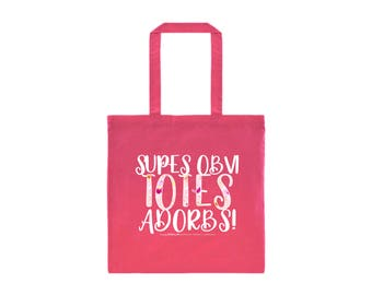 Supes Obvi Totes Adorbs Tote Bag, Pink Tote Bag, Cute Pink Tote Bag, Cheeky Sayings Tote Bag, White and Floral on Pink Tote Bag,Gift for Her