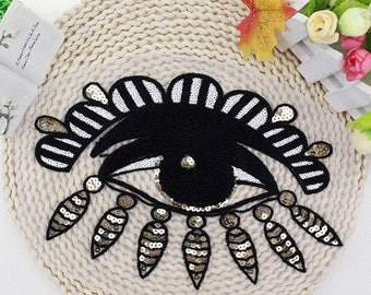 Eyeball Eye Heart Sequin Fashion Embroidered Iron On Patch DIY