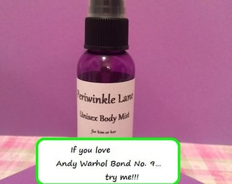 Andy Warhol Bond No. 9 type Body Mist, Lotion, Body Milk, Roll on Oil, Body Milk, Body Wash, Body Powder, Aftershave or Laundry Detergent
