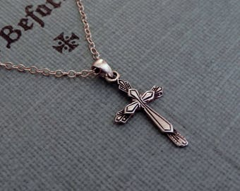 Sterling Silver Cross Necklace | Religious Pendant | Cable Chain, Ready to Ship