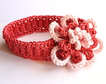 Knitting Pattern (pdf file) Fantasy Flower Headband / Brooch