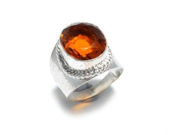 Faceted Citrine Topaz 925 Silver Ring 7