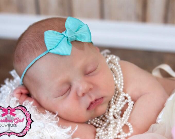 Aqua Newborn Headband - 2 in. Bitty Bow on an Elastic Headband - Girls Hair Bows - Baby Headband