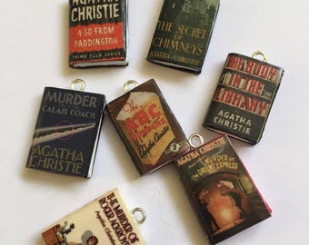 Handmade Agatha Christie Inspired, Polymer Clay Miniature Book, Mini Book Charm, Knitting Crochet Stitch Marker