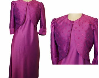 Silk Dress in Purple complimented with Textured Silk Bolero