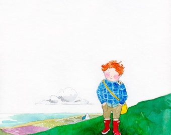 Over The Hills - Giclée Watercolor Print for Children's Bedroom Decor