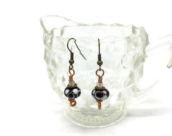 Black and White Handmade Glass Lampwork earrings