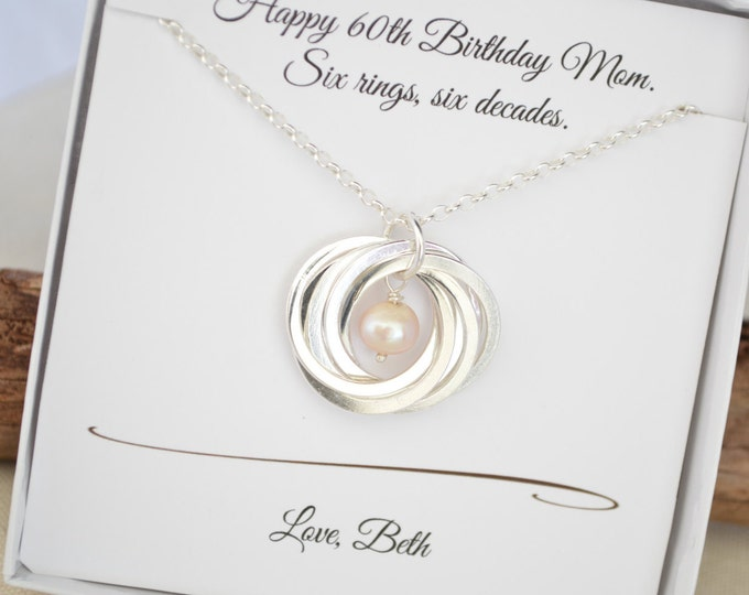 60th Birthday gift for mom, June birthstone jewelry, 6 Interlocking circles necklace, 6th Anniversary gift for wife, Jewelry for her