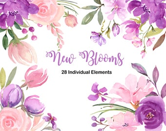 Purple flower etsy purple pink and lavender floral watercolor individual elements wedding clip art watercolor clipart purple flowers lavender flowers mightylinksfo