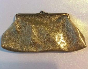 Vintage Purse - Vintage 1960s Vinyl and Gold Tinsel Handbag