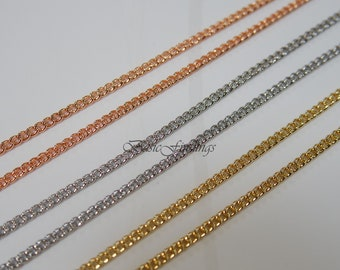 5 Meters, 16 Feet, Curb Chain 145S, Rose Gold/Original Rhodium/16k Gold Plated Brass Chain, Basic Fashion Jewelry Chain, Quality Chain