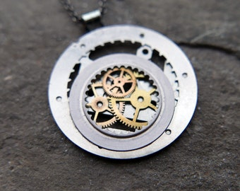 "Watch Parts Pendant ""Beid"" Cosmic Alien Delicate Beautiful Mechanical Watch Sculpture Necklace Industrial Steampunk Art Mechanical Mind"
