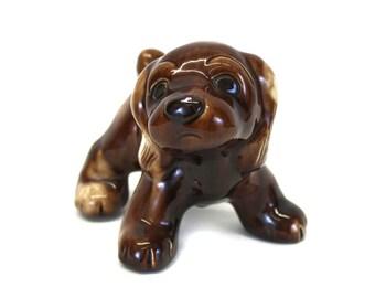 Vintage Large Brown Ceramic Puppy Figurine (E4313)