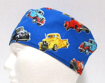 Mens Scrub Cap or Surgical Cap with Classic Trucks
