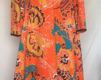 1970's Gold and orange dress
