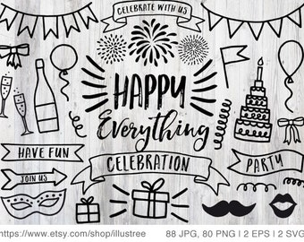 88 Celebration, party, birthday clip art, hand drawn digital clipart, overlays, bundle, commercial use, PNG, EPS, SVG file, instant download
