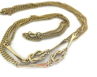 Vintage Gold Long Detail Chain Necklace Infinity