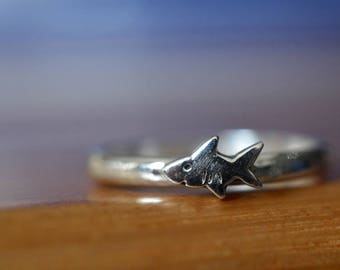 Tiny Silver Shark Ring, Sterling Silver Custom Engraved Band, Sea & Marine Life Jewelry, Above Knuckle Midi Ring