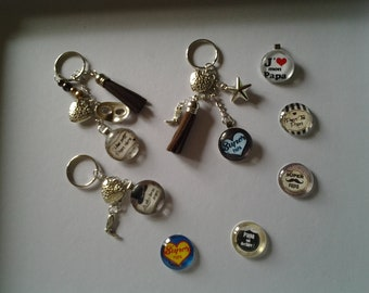 Keychain for dads, mother, cabochons