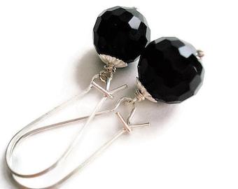 Onyx Earrings Gemstone Jewelry Black Earrings Bohemian Jewelry Long Earrings Everyday Jewelry Silver Earrings Black Jewelry Stone Earrings