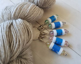 Small Blue Beaded Row Counter -Removable Progress Keeper -Stitch Marker -Crochet -Knit -Row Tracker -Wristlet Accessory -Clear Resin Beads