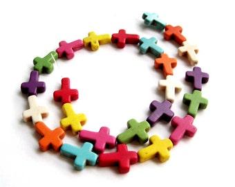 Imitate Multi-Color Turquoise Carved Cross Shape Beads One-Strand  ja482