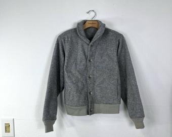 80's vintage early winters shawl collar fleece jacket gray color