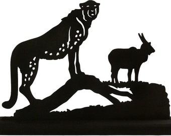 Cheetah Predator and Prey Handmade Wood Display Silhouette - SAWA002