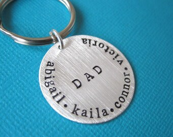 Perfect Gift a Father - Personalized Hand Stamped Key Chain By Hannah Design