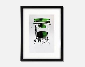 Grün/schwarze Tinte