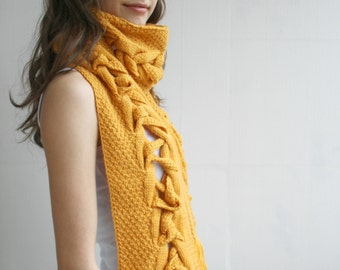 Mustard Wool Special Design By DenizGunes Knit  Scarf Perfect Gift Under 75 For Women For Girl Friend Mothers Day Gift