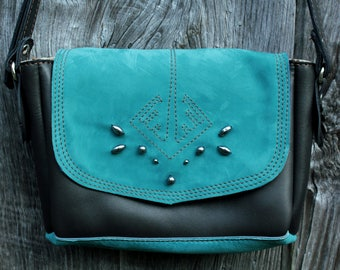 Turquoise blue nubuck and dark brown leather satchel, hematite bead embroidery