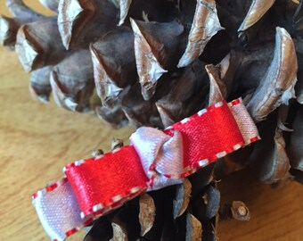 Silver and Red Knotted Ribbon Hair Clips - Set of 2